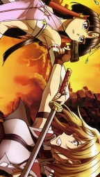 309449 angelise_ikaruga_misurugi cross_ange gun sala_(cross_ange) salia_(cross_ange) sano_takayuki sword thighhighs