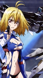 309607 angelise_ikaruga_misurugi bodysuit cleavage cross_ange gun mecha no_bra pantsu sword torn_clothes weapon