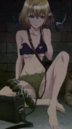 311206 angelise_ikaruga_misurugi bikini_top cleavage cross_ange feet gun headphones nakajima_nagisa torn_clothes underboob