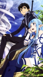 311426 asuna_(sword_art_online) dress kirito pointy_ears sword_art_online thighhighs