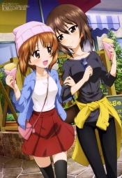 i_299084 girls_und_panzer megane nishizumi_maho nishizumi_miho thighhighs yoshida_nobuyoshi