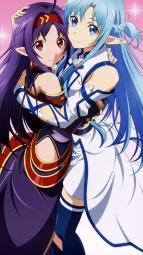 i_305565 asuna_(sword_art_online) dress pointy_ears sword_art_online tanabe_kenji thighhighs yuuki_(sword_art_online)