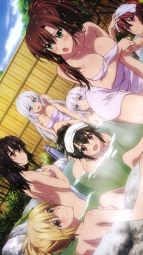 294223 aiba_asagi akatsuki_nagisa cleavage himeragi_yukina kanase_kanon kirasaka_sayaka naked onsen strike_the_blood towel wet yuuma_tokoyogii_