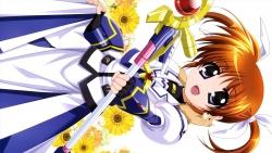 313725 dress higa_yukari mahou_shoujo_lyrical_nanoha takamachi_nanoha weapon yuuno_scrya