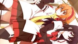 313733 amasaki_manamu ichinomiya_eruna mikagura_gakuen_kumikyoku mikagura_seisa seifuku stockings thighhighs
