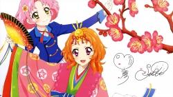i_12201 aikatsu! autographed fujiwara_miyabi_(aikatsu!) heels kimono kitaouji_sakura oozora_akari seifuku watanabe_satomi