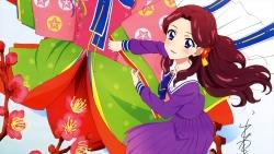 i_a12201 aikatsu! autographed fujiwara_miyabi_(aikatsu!) heels kimono kitaouji_sakura oozora_akari seifuku watanabe_satomi