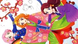 i_aa12201 aikatsu! autographed fujiwara_miyabi_(aikatsu!) heels kimono kitaouji_sakura oozora_akari seifuku watanabe_satomi
