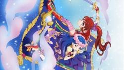 169_316926 aikatsu! dress heels ishikawa_kayoko kazesawa_sora shibuki_ran sword thighhighs