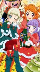 i_302977 aikatsu! animal_ears autographed christmas heels hikami_sumire horns oozora_akari pantyhose toudou_yurika watanabe_satomi