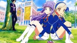318939 aikatsu! headphones heels hikami_sumire kurosawa_rin megane sakai_kasumi seifuku suzukawa_naoto