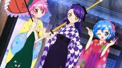 318940 dorothy_west hara_shoji leona_west pripara sword toudou_shion umbrella yukata
