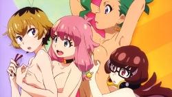 318747 breast_grab chichibu_lovera daihatsu_meika headphones hikiotani_ito megane narugino_mikatan pantsu punchline shimapan topless tsukada_hiroshi yuri