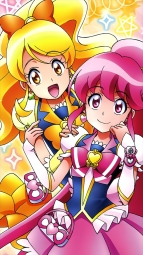 287690 aino_megumi happiness_charge_precure! oomori_yuuko pretty_cure satou_masayuki stick_poster thighhighsi_