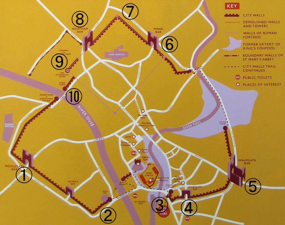 ヨーク市城壁地図
