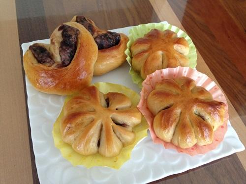 黒糖あんパン ハート型・お花型