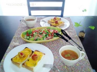 残り物サラダ&コロちゃんパン2