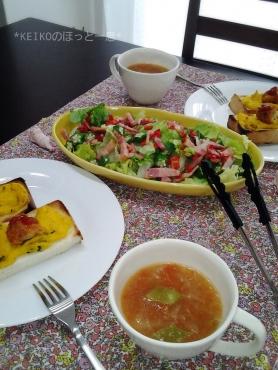 残り物サラダ&コロちゃんパン3