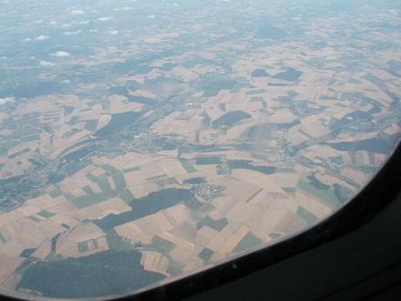 7月31日イギリスの上空、土地がよく利用されている