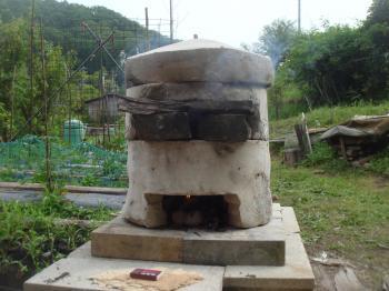 小型組み立て式石窯の試運転