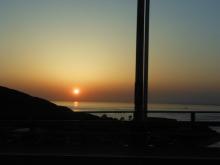 明石海峡大橋からの夕日