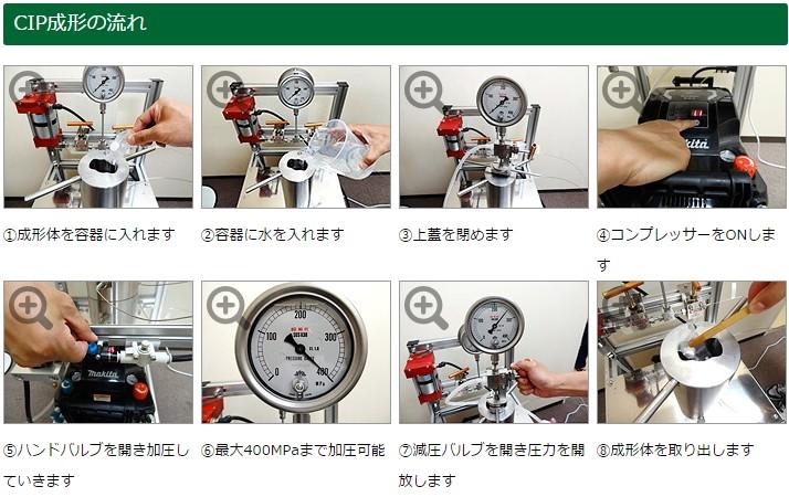 ラバープレス機(CIP成形機)の使用方法