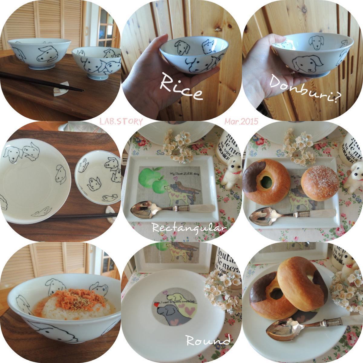 日本製美濃焼の食器と、米国製オリジナルイラスト入りお皿