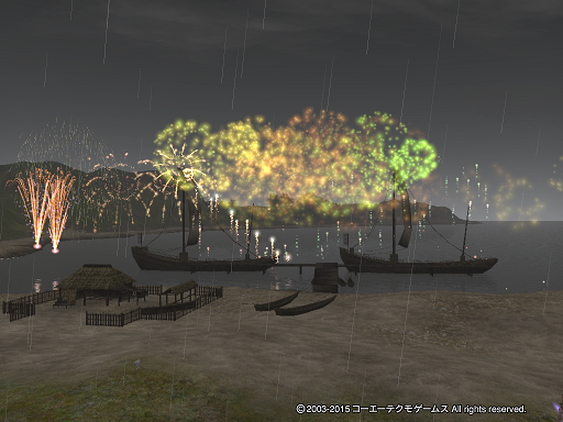 雨なのに花火