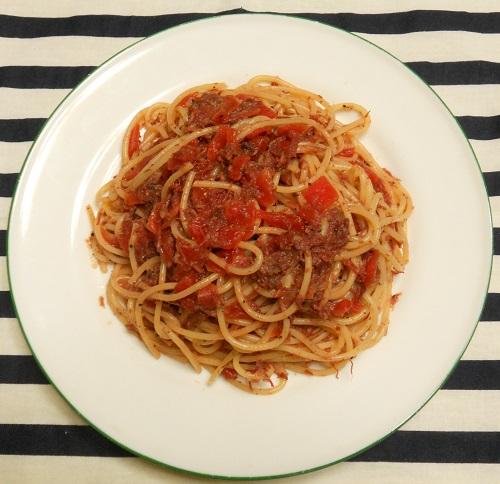 コンビーフと福神漬けのスパゲッティ6
