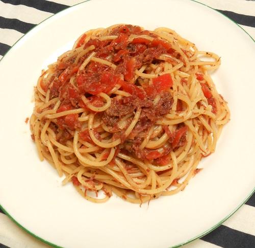 コンビーフと福神漬けのスパゲッティ7