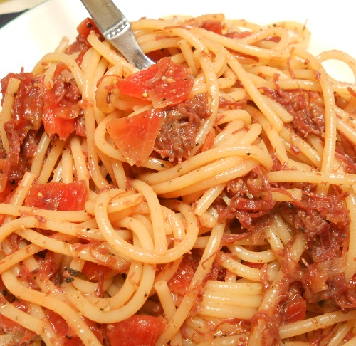 コンビーフと福神漬けのスパゲッティ8