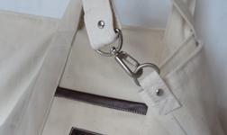 キャンバス生地のバッグ 完成 肩掛けストラップとD環
