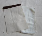 キャンバス生地のバッグ 04 外ポケットとタオル地