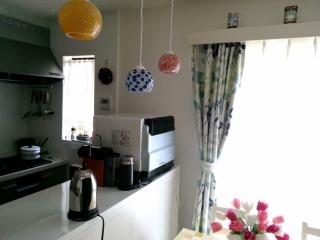 我が家のキッチン/モザイクペンダントライト