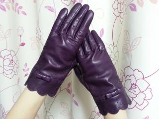 ルルギネス手袋/なみなみスカラップリボン羊革