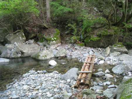 IMG_4764 二つ目の丸木橋です、杉林を超えて一か所渡渉点があります