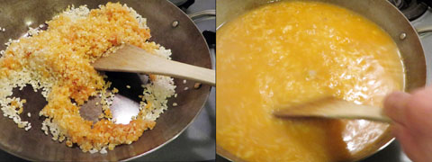 お米を炒めて煮る