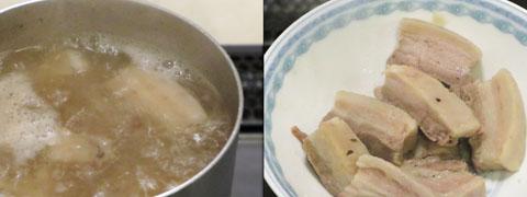 前日の出汁と豚肉を温める