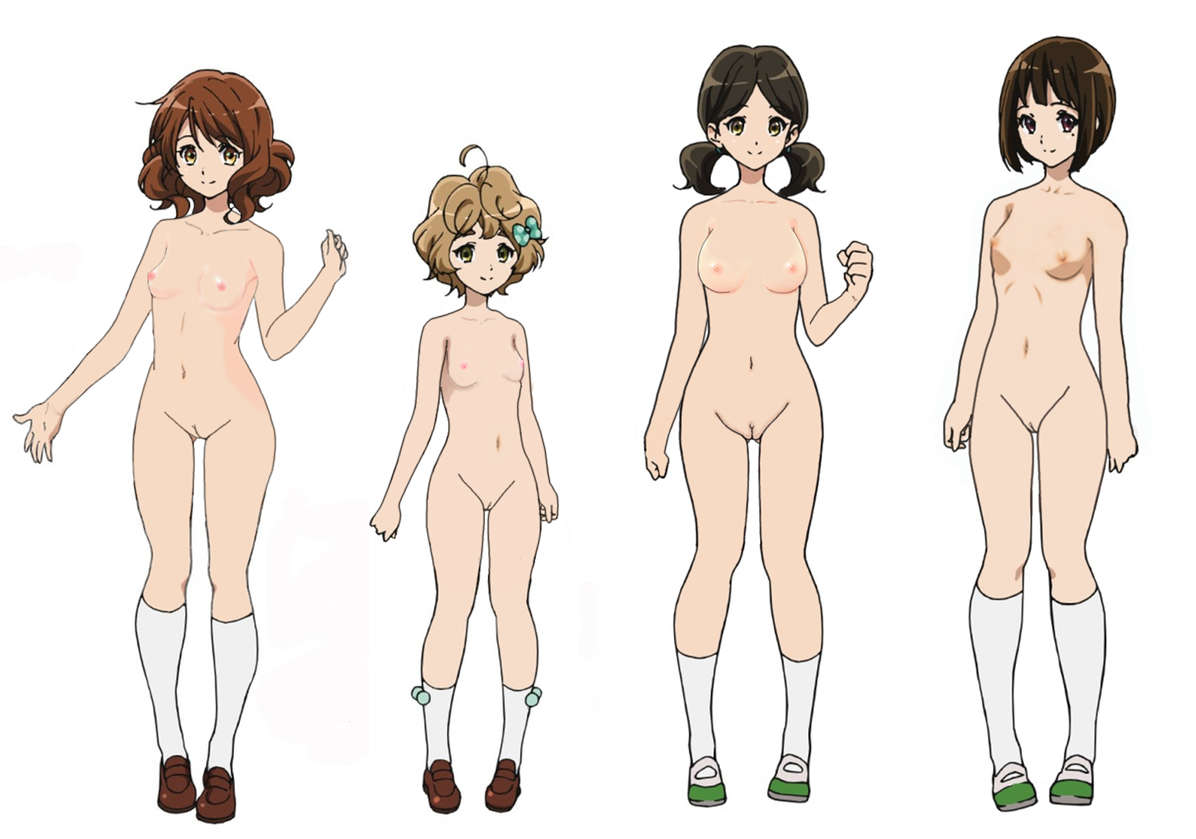 four naked anime girls