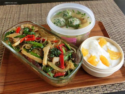 黒酢の野菜チャプチェ弁当01