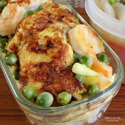 グリーンピースのえび玉丼弁当02