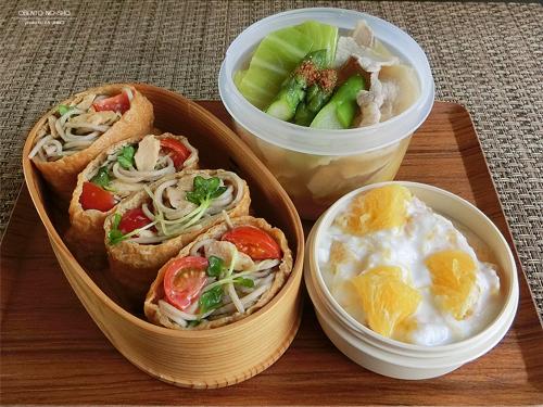 ツナサラダ蕎麦稲荷&3月豚汁弁当01