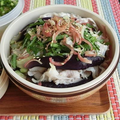 蒸し茄子と豚しゃぶのサラダ弁当02