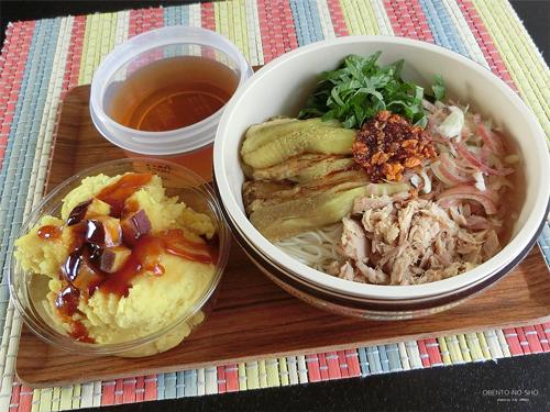 焼き茄子素麺&さつま芋の蒸しケーキ弁当01