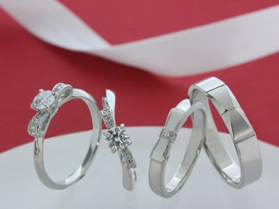 リボンエンゲージリング(婚約指輪)・マリッジリング(結婚指輪)