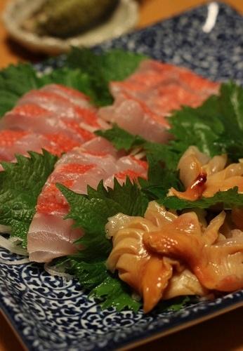 金目鯛と赤貝のお刺身