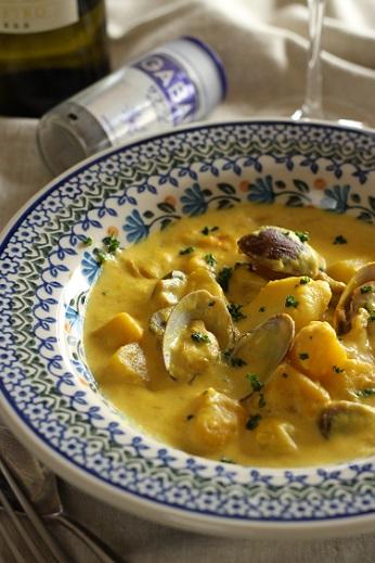 あさりと鱈とジャガイモのサフランクリーム煮2