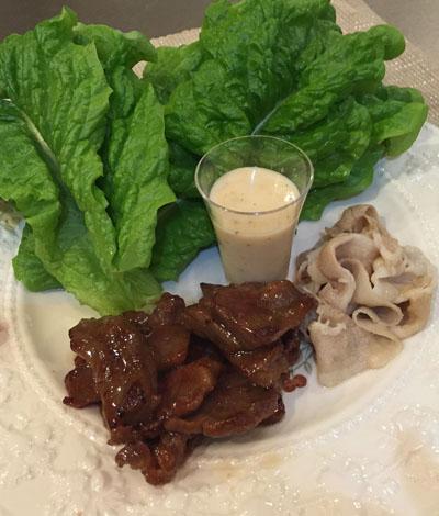 豚の鶏スープ低温煮。牛のタレ焼きを。。ジョセフィーヌで