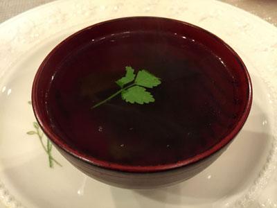 今日はスープ。。器の色まちがい