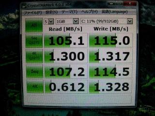 HDDをディスクマーク